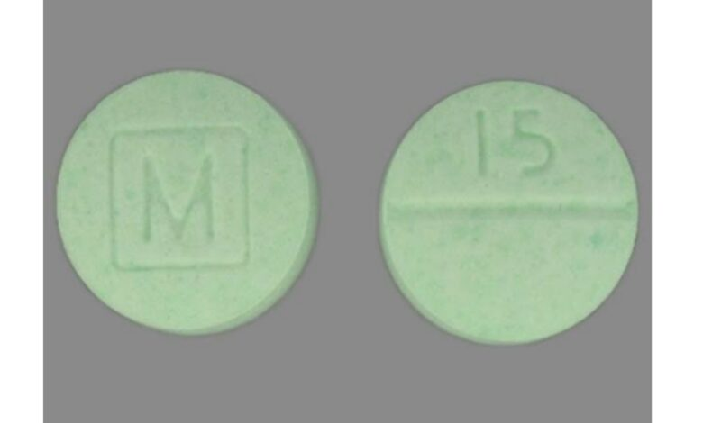 What Green Pill Has An M On One Side And 15 On The Other